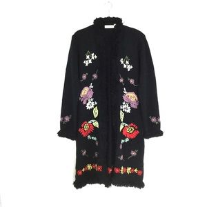 Newport News Floral embroidered Long Sweater Coat